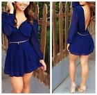 Women Sexy Backless Long Sleeve Casual Chiffon Clubwear Short Mini Dress - CB