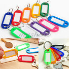 50/100 Coloured Plastic ID Tags Name Card Language Fob Label  Keychain Key Ring