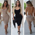Sexy Women Sleeveless Backless Strappy Bodycon Bandage Party Cooktail Midi Dress
