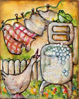 Laundry Day Goose Frog Wringer Washer Country Flowers Unmounted Canvas Print