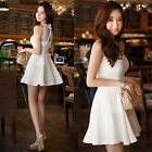 Women Lady Sexy Sleeveless Collar Short Mini Cocktail White Ball Gown Dress - CB
