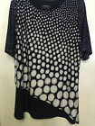 NAVY AND BEIGE PRINT  TUNIC TOP,S/SLEEVE,  SCOOP NECK, FOREVER BNWT