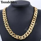 HEAVY 17mm Black Gold Tone Curb Link Mens Chain 316L Stainless Steel Necklace