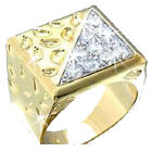 MENS Bold Gold Nugget Pave Set Cz Cubic Zirconia Cocktail Statement BLING Ring
