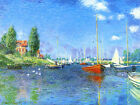 Red Boats Argenteuil Claude Monet Canvas Giclee Art Print Painting Reproduction