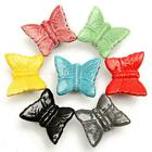 Butterfly Ceramic Door Handle Wardrobe Cabinet Cupboard Drawer Closet Pull Knob