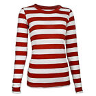 Long Sleeve Stripe Striped Shirt RED White Waldo Women's XS S M L XL XXL