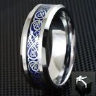 8mm Silvering Blue Celtic Dragon Tungsten Ring Mens Jewelry Wedding Band