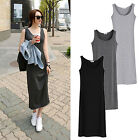 New Women Summer Beach Sleeveless Full Length Solid Tank Casual Long Maxi Dress