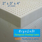 "NEW 3 Inch ErgoSoft 100% Natural Latex Pad Topper - QUEEN 60"" x 80"", 3 Densities"