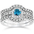 1 1/10Ct Heat Treated Blue Diamond Trio Engagement Guard Ring Set 10K White Gold
