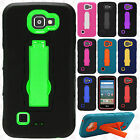 For LG K4 LTE / Spree IMPACT Hard Protector Rubber Case Phone Cover Kickstand