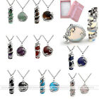 Natural Cylinder Oblate Gem Silver Dragon Wrap Bead Pendant Steel Chain Necklace