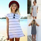 New Fashion Women Summer Casua Long Tops Blouse T-Shirt Striped Mini Dress N4U8
