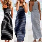 Sexy Womens Boho Stripe Summer Party Beach Long Maxi Vest Dress Sundress N4U8