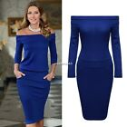 Women New Fashion Slash Neck Off Shoulder Sexy Pencil Casual Bodycon Dress N4U8