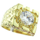 Rampart 2.5ct Clear Round Cubic Zirconia Gold EP Mens Nugget Ring