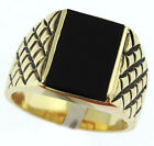 Genuine Jet Black Onyx 18kt Gold EP Mens Ring New