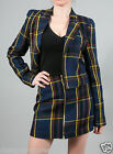 Naven Cropped Vamp Jacket in Navy Plaid