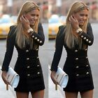 WOMEN SLIM BUTTONS ZIPPER CASUAL BODYCON COCKTAIL PARTY MINI DRESS LONG SLEEVE