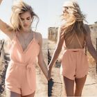 Women Strap V Neck Elastic Waist Short Jumpsuit Romper with Belt N4U8