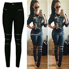 Women Jeans Skinny Zipper Sexy Ripped Soft Stretchy Legging Long Pants N4U8