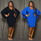 Fashion Lady Sexy Bat Sleeves Backless Cape Bodycon Tunic Party Dress L-3XL