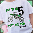 GREEN DIRTBIKE BIRTHDAY SHIRT PERSONALIZED NAME AGE DIRT BIKE OFFROADING