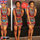 Women's Summer Casual Sleeveless Traditional African Stretch Bodycon Party Dress