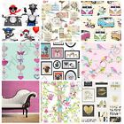 GIRLS CHIC WALLPAPER KIDS BEDROOM FEATURE WALL DECOR VARIOUS DESIGNS FREE P+P