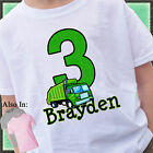 GREEN GARBAGE TRUCK BIRTHDAY SHIRT PERSONALIZED NAME AGE TRASH TRUCK