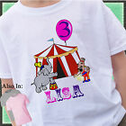 PINK CIRCUS GIRL BIRTHDAY SHIRT PERSONALIZED NAME AGE ELEPHANT BIG TOP