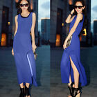 Trendy Twinset Womens Side Slit Sleeveless Chiffon Maxi Dress Tank Top T-shirt