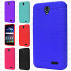 For ZTE Grand X3 Z959 Rugged Rubber SILICONE Soft Gel Skin Cover +Screen Guard