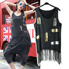 Stud Rivet Hip Hop Punk Rock T-Shirt Goth Hippie Vest Tank sequined Top Tassels