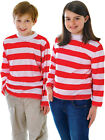 Child Red White Wally Sleeve Striped Top Shirt Fancy Dress Outfit Book Character