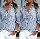UK Womens Casual Striped Long Sleeves top blouseTops T-shirt plus size 6-16 hot