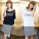 Twinset Batwing Sleeve T-shirt Women's Clothing Letters Striped Mini Dress New