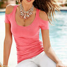 New Women Summer Blouse Casual Crew Neck Off Shoulder Short Sleeve T-Shirt Tops