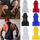 Mens Hooded Workout Vest Tank Top Bodybuilding Gym Muscle Fitness Football Shirt
