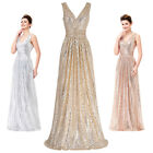 New Women Sequins Long Evening Ball Gown Party Prom Bridesmaid Dress Size 2-16