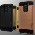 For LG K8 / Escape 3 Case - Slim Hard Faux Brushed Metal Phone Armor Cover