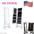 Cool Jewelry Stand Armoire Mirror Cabinet Storage White Cheval Case Box Lock US