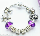 Any name ABC alphabet letters bracelet & charms for children kids in gift pouch