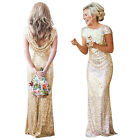 Women Fashion Bridesmaid Backless Sequins Wedding Party Evening Prom Long Dress