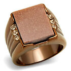 Gold Sand Stone & Crystal Coffee Light Plated Mens Ring