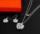 Love Heart Jewellery Set Silver Plated Earrings Necklace Ladies Girls Gift
