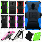 For ZTE Grand X Max 2 Hybrid Combo Holster KICKSTAND Rubber Case Phone Cover