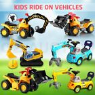 Kids Ride On Toy Car Bulldozer Excavator Digger Tank w/ Seat Pretend Play Toys
