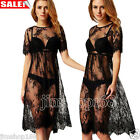 Womens Casual Long Black Short Sleeve See Through Beach Wear Sexy Lace Dress LOT